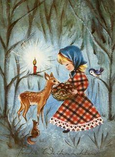 Vintage Christmas Card ~ Little Girl feeding a Deer ~ Rust-Orange Accents