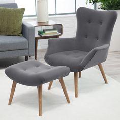 Belham Living Matthias Mid-Century Modern Chair and Ottoman