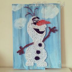 Olaf frozen - string art. Check us out on Facebook at All Strung Up. https://www.facebook.com/pages/All-Strung-Up/915873695199667?ref=hl