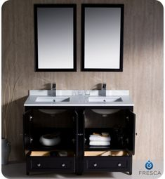 Fresca Oxford 48 in. Double Vanity in Espresso with Ceramic Vanity Top in White with White Basins and Mirror - The Home Depot Double Sink Bathroom, Double Sink Vanity, Modern Master Bathroom, Bathroom Sink Vanity, Remodel Bathroom, Double Sinks, Master Bathrooms, Bathroom Mirrors, Bathroom Cabinets