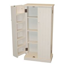 TMSSolid Pine Wood Utility Pantry; White | Quill.com