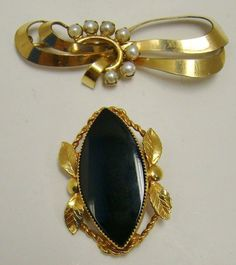 LOT OF 2 VINTAGE 12K GOLD FILLED PIN BROOCH PEARL ONYX CATAMORE 12 GRAMS TOTAL #Catamore