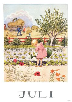 'Juli' ~ watering the garden, hay harvest ~ summer illustration by Elsa Beskow Elsa Beskow, Images Vintage, Vintage Pictures, Vintage Art, Vintage Postcards, Gravure Illustration, Children's Book Illustration, Old Illustrations, Jolie Photo