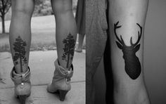 tatouage silhouette noir arbre & cerf