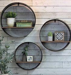 Round Metal/Wood Shelves (Set of Hanging Wall Baskets, Wall Hanging Shelves, Wall Shelf Decor, Shelves Above Couch, Wood Shelves, Hobby Lobby Wall Decor, Garden Organization, Green Wall Decor, Green Life