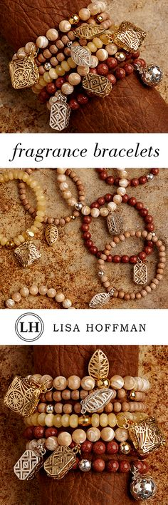 Beaded fragrance bracelets by Lisa Hoffman. Simply unclasp the charm to fill with your favorite Lisa Hoffman fragrance. Scent lasts consistently for up to a month. A stylish, unique way to wear fragrance. Learn more: http://lisahoffman.com/