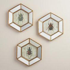 Hexagonal Mirrored Beetle Wall Art, Set of 3   World Market