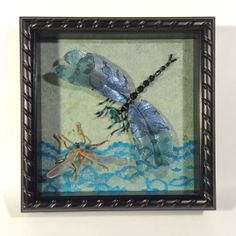 Beaded dragonfly and mosquito. The background is paper and lace. Sold to a dear friend!