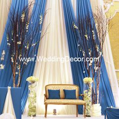 A-line Backdrop - blue and white with tree and floral accents