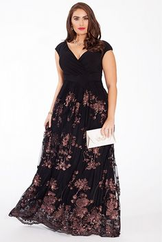 Plus Size Lace Gown in Bronze