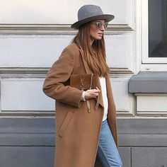 Grey Fedora Camel Coat Pinterest Image