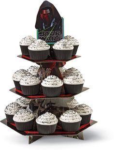 Cute idea for Star Wars cupcakes - black paper cups, white frosting and black sprinkles
