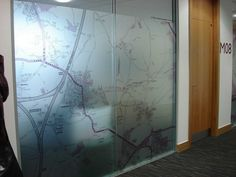 Map- frosted window graphic.