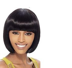 Refreshing Neat Bang Short Bob Straight Heat-Resistant Synthetic Wig For Women Color: BLACK Type: Full Wigs Cap Construction: Capless Style: Straight Material: