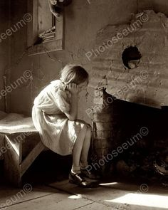 Depression Era Girl Looking Into Fire Place Vintage 8x10 Reprint Of Old Photo