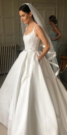 30 Simple Wedding Dresses For Elegant Brides ❤ simple wedding dresses ball gown with spaghetti straps lace top suzannene Western Wedding Dresses, Princess Wedding Dresses, Modest Wedding Dresses, Designer Wedding Dresses, Bridal Dresses, Wedding Dress Straps, Simple Elegant Wedding Dress, Classic Wedding Dress, Elegant Bride