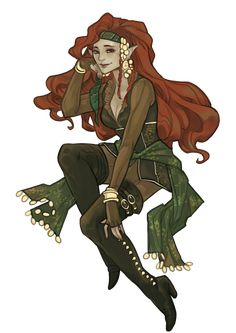 female elf red headed character - sorcerer / spell caster maybe an oracle could be Varisian? Female Character Design, Character Concept, Character Art, Concept Art, Character Ideas, Elf Characters, Dungeons And Dragons Characters, Fantasy Characters, Female Elf