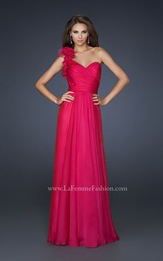 La Femme One-Shoulder Feather Prom Dress.  Love it!    #Prom #Dress #Fuchsia