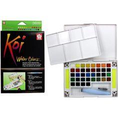 Sakura Assorted Brush Koi Watercolor Field 36 Color Sketch Set – Bedding sets for kids Sakura Koi Watercolor, Watercolor Pans, Mighty Wallet, Sketch Box, Water Brush, Macbook Decal, Artist Painting, Cake Painting, Painted Pots