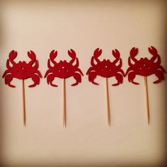Nautical Themed Cupcake Toppers - Crab Cupcake Toppers