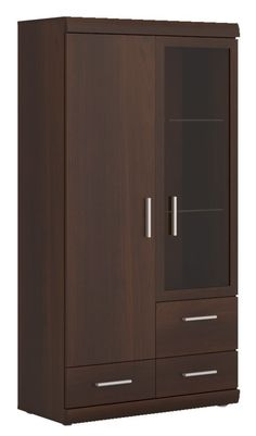 Imperial 2 Door 3 Drawer Glazed Display Cabinet in Dark Mahogany Melamine. Our dark mahogany coloured Imperial 2 Door 3 Drawer Glazed Display Cabinet offers all the class of a traditional mahogany piece but at a much lower price. Wardrobe Door Designs, Wardrobe Design Bedroom, Bedroom Furniture Design, Closet Bedroom, Bed Furniture, Home Decor Furniture, Cheap Furniture, Furniture Logo, Discount Furniture