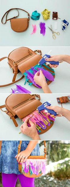 There are only three steps to making the perfect boho fringe and feather bag for summer 1 Cut a piece of jersey fabric to match the width of your purse flap Fringe that j. Le Pilates, Diy Bags Purses, Diy Handbag, Mode Boho, Fringe Bags, Fringe Purse, Hobo Style, Boho Diy, Diy Accessories