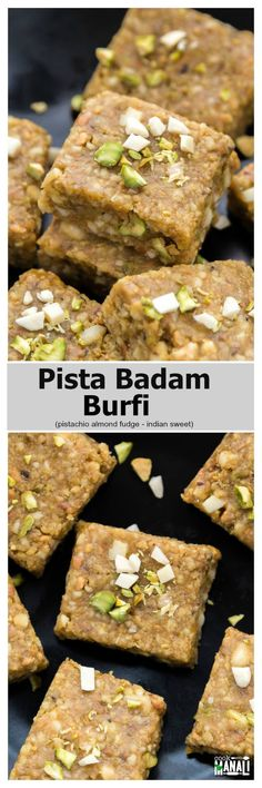 Easy and delicious pista badam burfi - a fudge made with pistachios, almond and ghee! This Indian sweet is perfect for any festive occasion! Indian Dessert Recipes, Indian Sweets, Sweets Recipes, Cake Recipes, Indian Recipes, Diwali Recipes, Pakistani Recipes, Indian Snacks, Appetizer Recipes