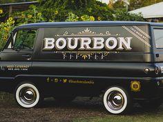 Van we designed for a local restaurant Bourbon. Includes two beers two wines Van Signage, Vehicle Signage, Vehicle Branding, Old School Vans, Food Vans, Van Car, Van Design, Sign Writing, Truck Design