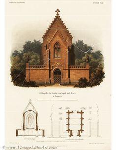 Original Antique  Architectural Print - Architecture Tomb of family castle - SCARCE