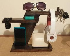 Wood Phone docking station.  Custom Men's valet.