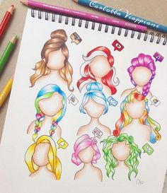 """Your favourite Apps as hairstyles! Comment which APP you use the most! By @tottadraws _ #justartshares"""