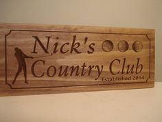 Custom Wood Carved Personalized Sign with Golfer Golf Balls Golf Clubs Country Club Wooden Wall Art Benchmark Fathers Day Gifts #57