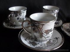 4 tazas y platos porcelana arabe muy fina pincelada en plata a mano JUEGO CAFÉ