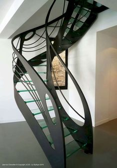 Escalier design in glass: l'arabesque de la lumière - Today Pin Concrete Staircase, Floating Staircase, Stair Railing, Staircase Design, Staircase Ideas, Stair Design, Railings, Banisters, Grand Staircase
