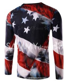 c50b01bb3cbe Round Neck 3D Eagle and Flag Print Long Sleeve T-Shirt For Men Gucci