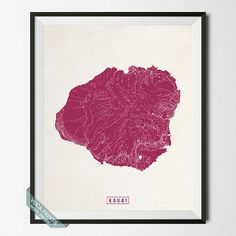 Kauai Print Hawaii Poster Kauai Poster Kauai Map by VocaPrints