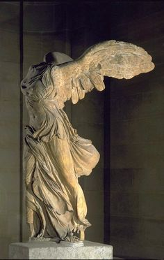 Ancient Greece. The Winged Victory of Samothrace, also called the Nike of Samothrace,[1] is a 2nd century BC marble sculpture of the Greek goddess Nike (Victory). Since 1884, it has been prominently displayed at the Louvre and is one of the most celebrated sculptures in the world.