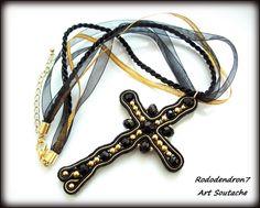 Soutache gothic pendant necklace