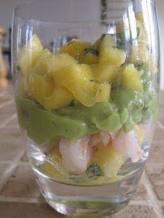 Rejecocktail med mango og avocadocreme