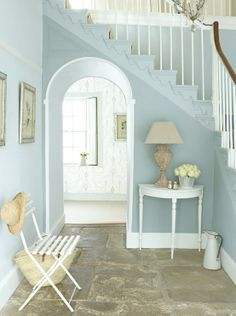 "China blue colour For Hallway! Dining Room- Love this pale blue colour and the stone. The paint is a ""Bone China Blue"" by The Little Greene Paint Company Style At Home, Table Console Blanche, Little Greene Paint Company, Estilo Interior, Modern Interior, French Interior Design, Pastel Interior, Interior Walls, Flur Design"