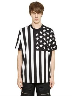 GIVENCHY - USA FLAG PRINT COLOMBIAN COTTON T-SHIRT - LUISAVIAROMA - LUXURY SHOPPING WORLDWIDE SHIPPING - FLORENCE
