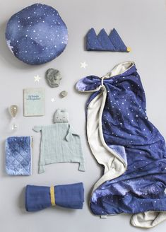 Dreamy Nightfall print by Fabelab: Moon Cushion, Cosy Blanket that can turn into a cape, cute Cuddle, Crown and pouches