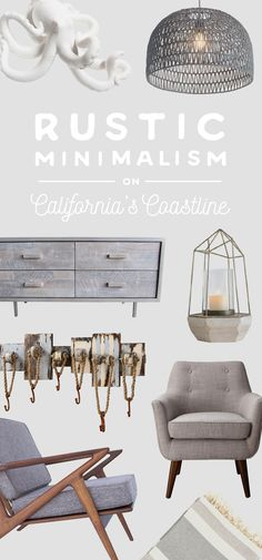 Rustic Minimalism on California's Coastline: The fog rolls slowly in over the crashing waves of the pacific Northwest sea. Let the colors, textures, sights, and sounds of these homes inspire your designs, and create a sleek interior that reflects the distinct, wistful feeling of being near the Northern California sea. Shop Now at dotandbo.com!