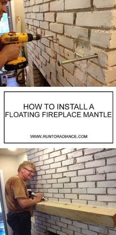 diy home decor ideas! This fireplace mantle diy with a floating wood beam is perfect! I had no idea it would be so easy to drill into brick and create a fireplace mantle diy project. It's perfectly rustic- totally fixer upper approved I think! Floating Mantle, Floating Shelves, Wood Beams, Easy Home Decor, Basement Remodeling, Remodeling Ideas, Basement Plans, Basement Pool, Basement Storage