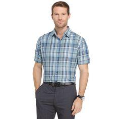 Big & Tall Van Heusen Air Wovens Classic-Fit Poplin Performance Button-Down Shirt, Turquoise/Blue (Turq/Aqua)