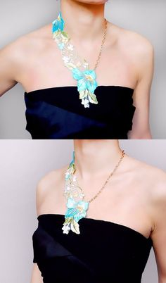 statement necklace// sheer embrodery lace necklace // by LaceFancy