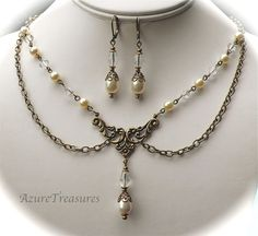 Victorian Pearl Necklace & Earrings