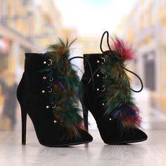 Botine Dama Negre Cu Toc Subtire Cod: 421P Boots, Fashion, Crotch Boots, Moda, Fashion Styles, Shoe Boot, Fashion Illustrations