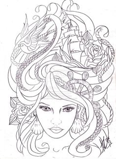 maritime hair tattoo sketch by ~Nevermore-Ink on deviantART