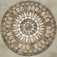 36 Inch Sj8 Mosaic Marble And Travertine Floor Medallion Tile Table
